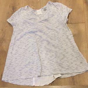 EUC Lane Bryant Blue Stripe Tie Back Blouse 14/16